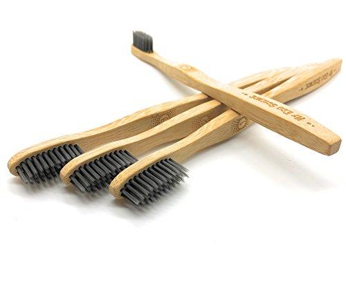 (Natural Bamboo Charcoal Toothbrush - Ultra Soft bristles - Set of 4-100% Organic biodegradable handle - BPA free - Individually numbered)