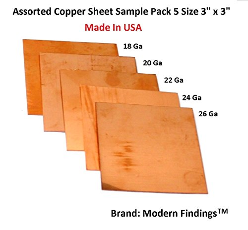 Assorted Copper Sheet Sample Pack of 5 (3