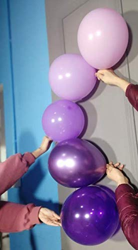 PartyWoo Purple Balloons, 70 Pcs 12 Inch Pastel Purple Balloons Lilac Balloons Violet Balloons Purple Metallic Balloons for Purple Party Decorations, Purple Birthday Decorations, Baby Shower Purple