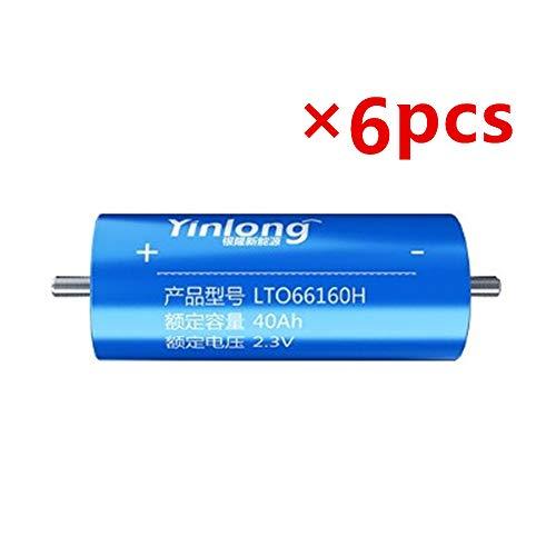 6PCS YINLONG 2.3V 30ah 35ah 40ah LTO Battery cell 66160H 2.4V Lithium Titanium Oxide Battery for E-bike Automobiles Buses Railroad Cars RV (2.3V 40Ah×6pcs (66mm×160mm))