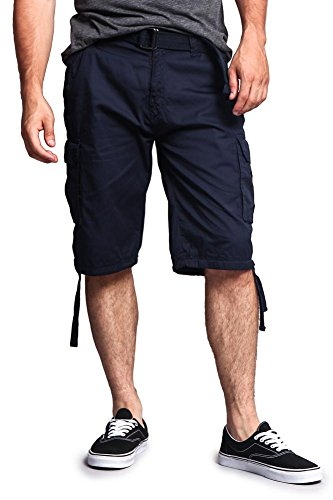 Blue Expedition Pant (G-Style USA Men's Ripstop Belted Cargo Shorts 9AP30 - Solid Navy - 30 - S7B)