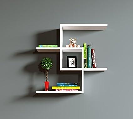 Homidea Chain Mensola da Parete – Bianco – Libreria – Mensola da Appendere  – Mensola Decorativa per Soggiorno in Design Moderno.