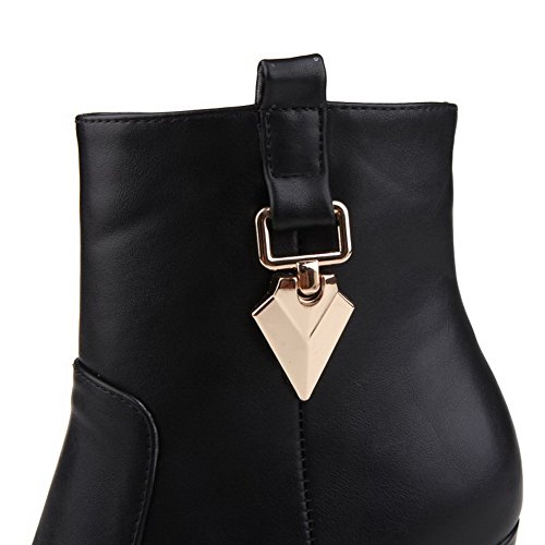 AllhqFashion Womens Zipper Round Closed Toe High-Heels PU Low-top Boots Black R2SzUUCaJJ