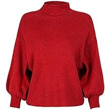 PERSUN Womens Black Turtleneck Long Puff Sleeve Knit Pullover Sweater Jumper Top