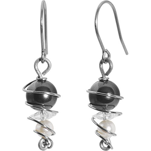 Pearl Earrings Swirl (Swirl Solid Titanium Earrings Created with Swarovski Crystals)