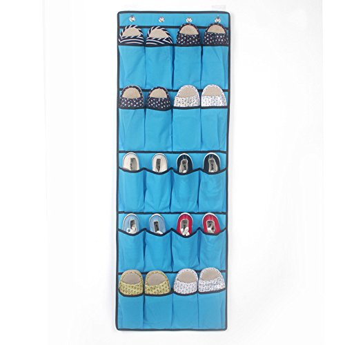 - 20 Pockets Hanging Over Door Shoe Organiser, LUCA Storage Rack Bag Box Wardrobe Hook (Blue)