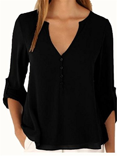 YOGLY Camiseta de Mujer Blusa con Cuello en V Manga Larga Grande Floja Yardas Camisa de Gasa Negro
