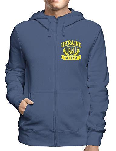 Uomo Kiev shirtshock E Cappuccio Navy Ukraine Zip Tstem0126 T Felpa wXZqv44