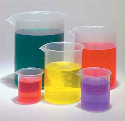 Plastic Beaker Set - 5 Sizes 50 100 250 500 and 1000ml