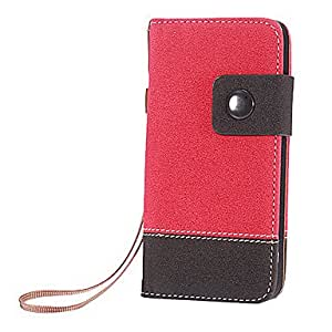 Double Color PU Leather Full Body Case with Card Slot and Strap for iPhone 5/5S (Assorted Colors) , Purple