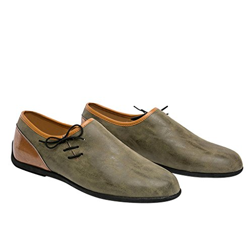 Beste Tijd Mannen Slip Op Mode Sneaker Pu Lederen Oxford Schoenen Leger Groen