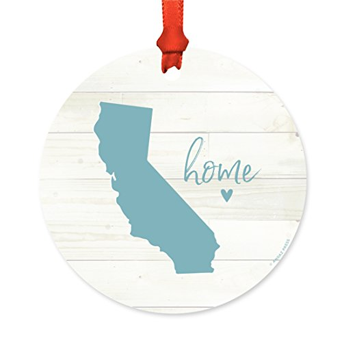 Andaz Press US State Round Metal Christmas Ornament, Rustic Light Wood Print, California Home, 1-Pack, Includes Ribbon and Gift Bag ()