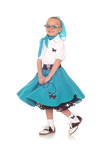 [Hip Hop 50s Shop 7 Piece Child Poodle Skirt Outfit, Size 12 Teal] (Fifties Outfit)