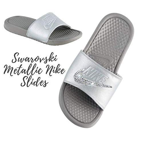 check out 4a1f1 d32d8 Amazon.com Swarovski Nike BEDAZZLED Slides METALLIC GREY Nike Slip On  Shoes For Women with Crystals Custom Nike Bedazzled Slip On Glitter Kicks  Handmade