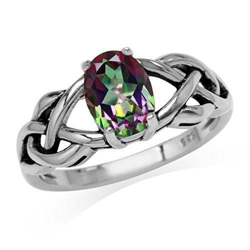 1.44ct. Mystic Fire Topaz 925 Sterling Silver Celtic Knot Solitaire Ring Size 8 ()