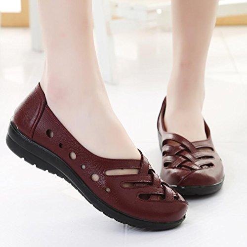 US5 Planos Zapatos Maroon Orificios UK3 CN35 Red Sandalias Edad De 5 Zapatos SHANGXIAN Mediana Sandalias Respirable De Las EU36 5 Con Antideslizante Mujeres Mayor awqTRIt