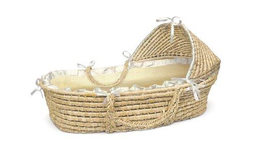 Badger Basket Natural Moses Basket with Hood, Beige Gingham Bedding (Badger Natural Bassinet)