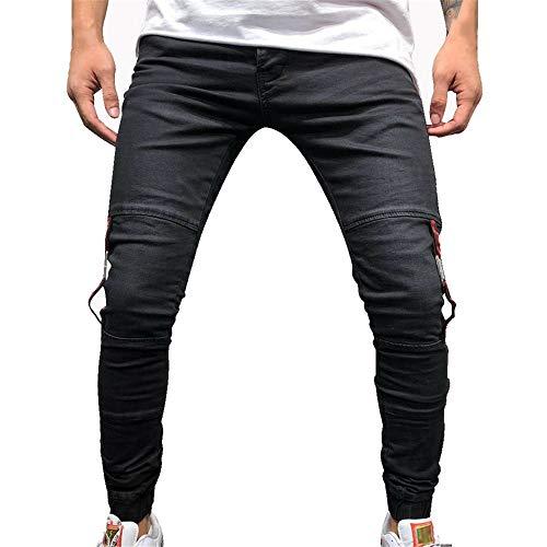 cqkj Mens Ripped Jeans Male Stretchy Ripped Skinny Biker Pants (Black,XXXL)