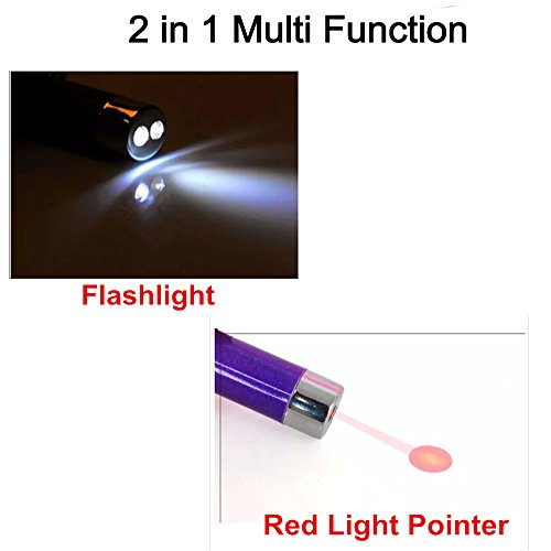 Pack of 4 Laser Tease Cat Dog Toy, 2 in 1 Multi Function Flashlight and Red Light Pointer Funny Cat Chaser Toys Interactive LED Light,Scratching Training Tools Red Pot Exercise Chaser - Assorted Color