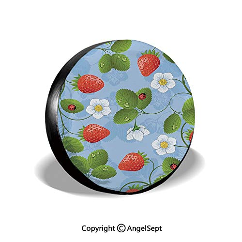 Spare Tire Cover,Strawberries Daisies and Ladybugs Looks Like Ivy Plant Spotted Insects Image,Blue Green Red,for Jeep,Trailer, RV, SUV and Many Vehicle 15
