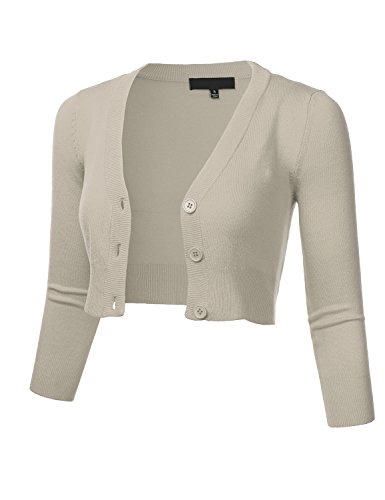 FLORIA Women Solid Button Down 3/4 Sleeve Cropped Bolero Cardigan Sweater LIGHTGREY M (3/4 Sleeve Collarless)
