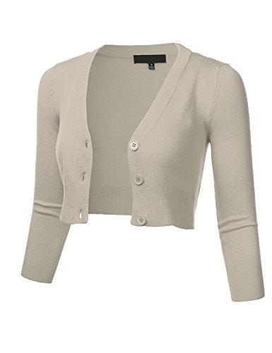 FLORIA Women Solid Button Down 3/4 Sleeve Cropped Bolero Cardigan Sweater LIGHTGREY M (Sleeve Collarless 3/4)