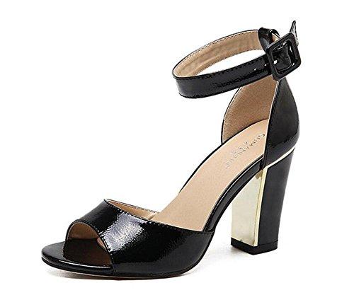 GLTER Mujeres Ankle Strap Bombas Oro-Rimmed Liso De Cuero De Tacón Alto Sandalias Verano Pez Cabeza De Zapatos Sandalias Peep Toe Zapatos Bloque Heel Corte Zapatos Damas Bombas Negro black
