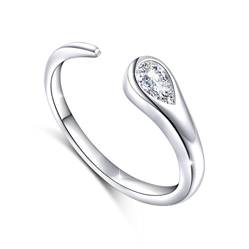 (S925 Sterling Silver Simple Adjustable Wrap Open Ring for Women CZ)