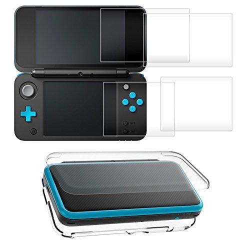 Taisioner PC Crystal Protective Case + 2pcs 9H Screen HD Protector Suit for Nintendo NEW 2DS XL Accessories