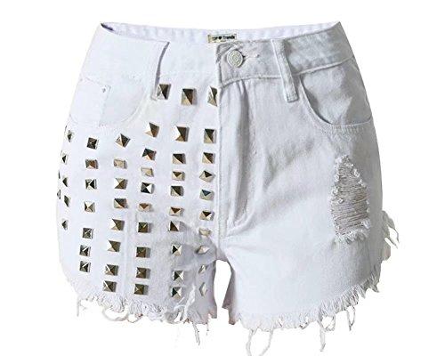 Wxian Women's High Waist Rough Edge Irregular Shorts Secret Fit Belly Cuffed Short