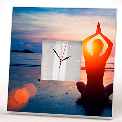 Yoga Relax Meditation Ocean Beach Wall Clock Framed Mirror Printed Design Fan Art Home Decor Gift by WonderCloud