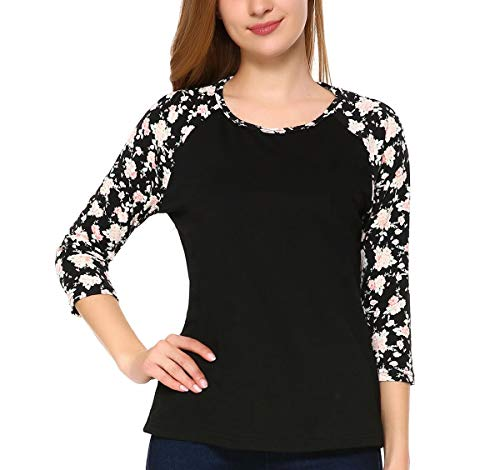Mixfeer Women's 3/4 Sleeve Raglan Shirt Casual Floral Print Splicing Crew Neck Blouses Tops and Shirts (Flower Blouse Print)
