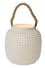 Lucide SAFIYA - Lámpara de mesa (diámetro de 16,5 cm, 1 bombilla E14), color blanco