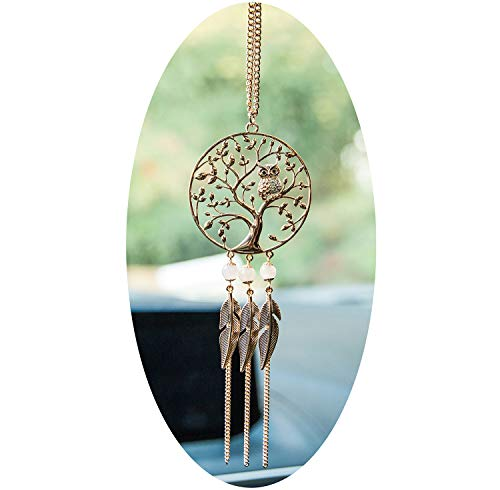 Boltz Tree of Life Pendant Owl Car Charm Rear View Mirror Accessories, Handmade Ornament Wall Hanging Home Decoration (Family -