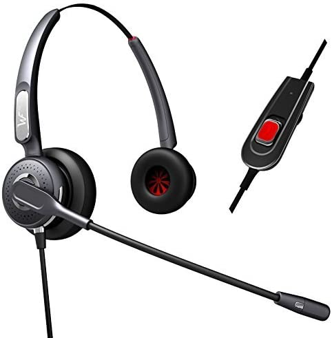 Dual Ear Premium Quality Call Center Headset Headphones+Adjustable Volume + Mute Control for Polycom Soundpoint IP