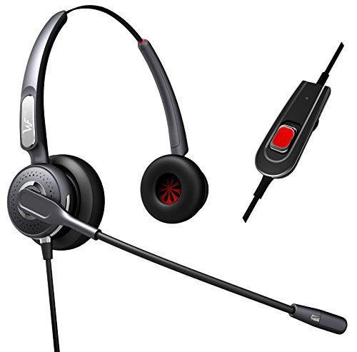 Dual Ear Headset Headphones + Adjustable Volume + Mute Control for Cisco Ip Telephone 7931 7940 7960 7970 7962 7975 7961 7971 7960 M12 M22 and All 79xx Series Dual Ear Headset
