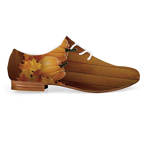 Harvest Leather Oxfords Lace Up Shoes,Squash Vegetables Pumpkins and Wooden Planks Fallen Dry Maple Leaves Decorative Bootie for Girls ladis Womens,US 11