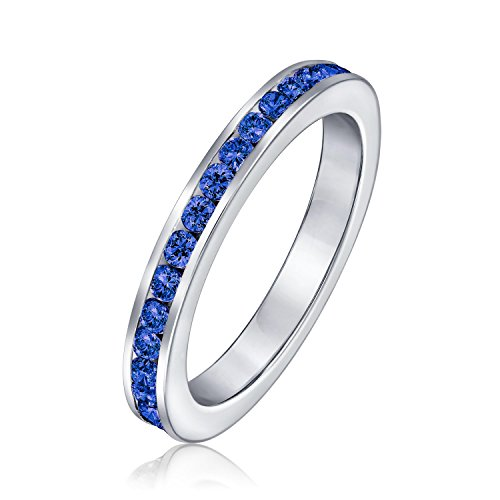 Cubic Zirconia Blue Stackable CZ Channel Set Eternity Band Ring Simulated Sapphire For Women Teen 925 Sterling Silver ()