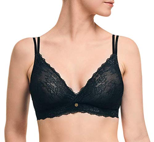 Light Lace Wireless Post Surgical Bra - Sensual Support Post Augmentation Bra Black (Best Bra After Augmentation)
