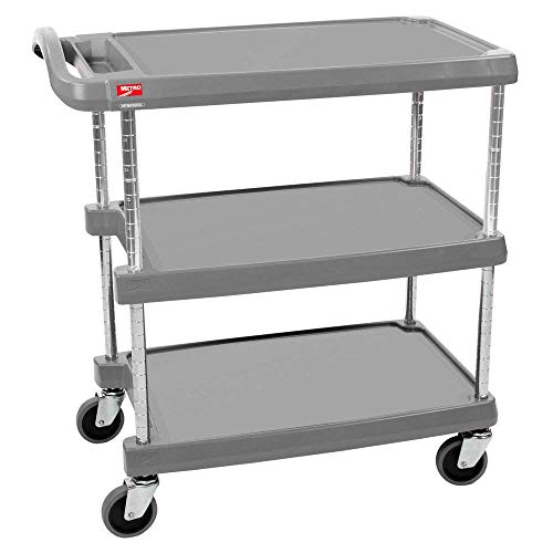Polymer Utility Cart - InterMetro Industries MY1627-34G Mycart Series Gray Polymer Utiltiy Cart, 3 Shelf, 35.38 X 31.44 X 18.31-Inch