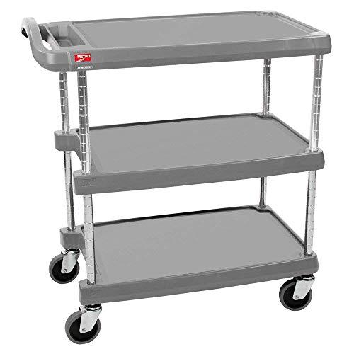 InterMetro Industries MY1627-34G Mycart Series Gray Polymer Utiltiy Cart, 3 Shelf, 35.38 X 31.44 X 18.31-Inch