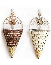 2 Pcs, Flower Basket, Planter Basket, Woven Basket,with Handle, Hand-Woven Plant, Artificial Cone Shaped Hanging Baskets