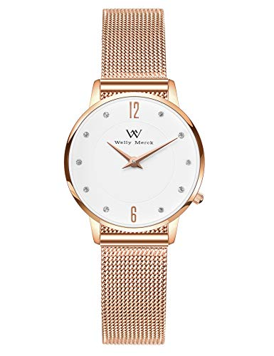 Water Resistant Sapphire Crystal Watch - Welly Merck Watches for Women 26mm Diameter Swiss Movement Sapphire Crystal Rose Gold 12mm Mesh Strap Band 164ft Water Resistant
