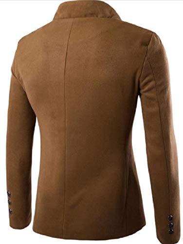 Mogogo Outwear Linguetta Basamento Del Vestito Solido Cammello Misto Rivestimento Mens Collare Monopetto Lana rXnR4aqX