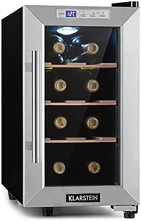 Klarstein Reserva Uno nevera para vinos, 23 litros / 8 botellas, temperatura: 11-18 °C, ruido: 26 dB, 3 baldas metálicas, luces LED, protección UV, nevera de vinos independiente, acero, negro