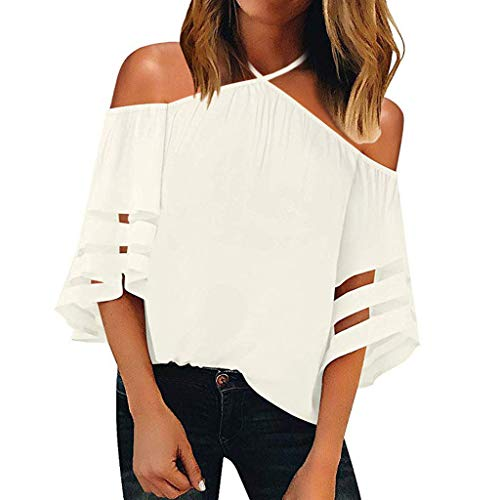 Women's Mesh Panel Blouse,LuluZanm Sale Ladies Summer Off Shoulder Fashion Tops 3/4 Bell Sleeve Solid T-Shirt White (Best Deal On Sports Shoes In India)