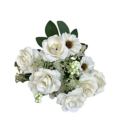 (pengchengxinmiao Artificial Fake Western Rose Flower Bridal Bouquet Wedding Party Home Decor Love Beauty Lifelike Craft Art Hotel Birthday (White, Free) )