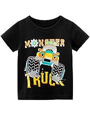Rixin Baby Boys Short Sleeve Cartoon Print Cotton T-Shirt Tops Summer Casual Tees for 1-7T