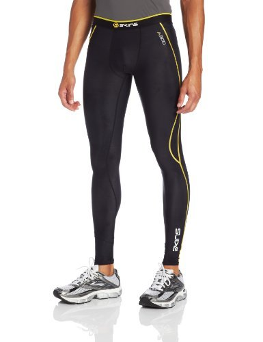 SKINS A200 Mens Long Tights Black/Yellow XS by Skins