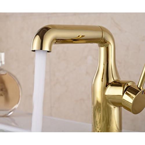 Rozin 174 Single Lever Swivel Spout Basin Faucet Gold